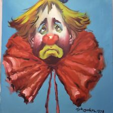 Vintage Colorful Painting on Canvas of Sad Clown Signed Dated C. 78 16 x 20