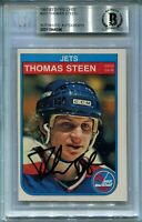 JETS THOMAS STEEN signed autographed 1982-83 OPC ROOKIE CARD RC BECKETT BAS