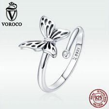 Voroco 925 Sterling Silver Open Ring Butterfly Charm Zircon New Women Jewelry