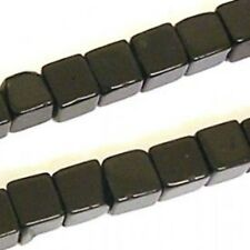 "16"" Black Onyx 4mm Cube Beads Jewellery making"