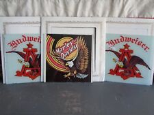 VINTAGE CARNIVAL GLASS MIRROR LOT OF 4 HARLEY DAVIDSON BUDWEISER 1980s