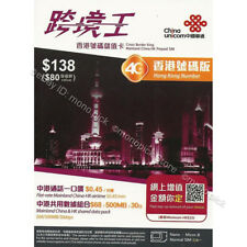 China Unicom Cuniq Hong Kong Cross Border King Mainland China PAYG Prepaid SIM