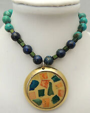 "Vintage 16.5"" Handmade Necklace w/ Simulated Lapis Lazuli Inlay Stone Brass Tone"