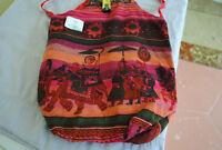 Studio 35 Elephant Cross Body Shoulder Bag Red Multi Color