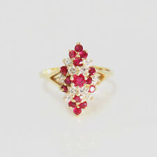 NYJEWEL 14k Solid Gold New 1.15ct Captivating Classic Ruby Diamond Cocktail Ring