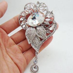 Bride Wedding Flower Pendant Clear Rhinestone Crystal Silver-tone Brooch Pin