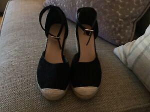 black wedge espadrilles Size 5/38