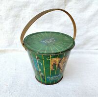 1950s Vintage Rare Dr. Writer's Sweets & Toffees Circus Lion Litho Tin Bucket