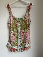 GREEN PINK FRILL TOP 14 M&S SUMMER BEACH HOLIDAY PRETTY EMBELLISHED CUTE PRETTY