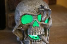 STONE LOOK LARGE RESIN SKULL WITH 2 COBRA SNAKES COMING OUT OF EYES & MOUTH HTF!