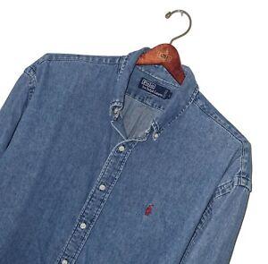 Men's POLO RALPH LAUREN Premium Vintage 90's Blue Denim Shirt *LOOSE* L FITS XXL