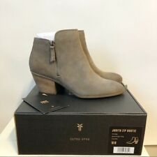 NEW FRYE Judith Zip Ankle Bootie Leather Suede Taupe Women's Size 10M