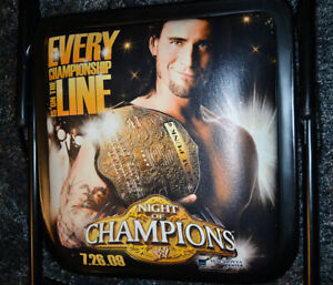 Very Rare WWE NIGHT OF CHAMPIONS 2009 Ringside PPV Chair with CM PUNK