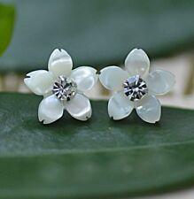 10mm Crystal Cherry Blossom 925 Sterling Silver Sea Shell Flower Stud Earrings