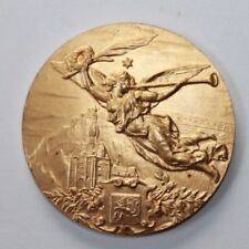 Old Gilded Solid Bronze Art Medal, Flying Angel with Trumpet / 50 mm / 142