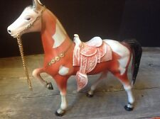 """Vintage Molded Plastic Horse Figure 12"""" Made in Hong Kong with Saddle & Chain"""