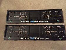 Skoda VRS Motorsport Number Plate Surrounds x2 Fabia Octavia Yeti Accessory