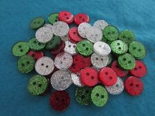 Round Glitter Buttons in Assorted Christmas Colours and Packs of 10, 20 or 50