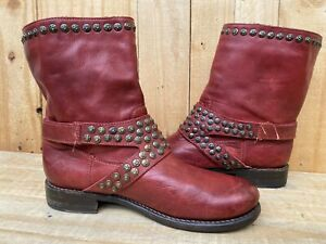 Frye Women's Brown Red Leather Studded Engineer Short Biker Ranch Boots Sz- 9 B