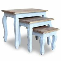 vidaXL Solid Reclaimed Wood Nesting Table Set 3 Piece Side End Coffee Couch