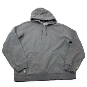 Nike Hoodie Small Check swoosh Hooded Sweatshirt Gray Size Large Distressed