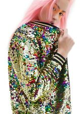 NWT Victoria's Secret LOVE PINK Floral Bling Sequin Varsity Bomber Jacket Ltd S
