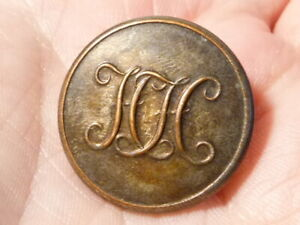Antique Hunt Button HH Initials Heythrop Hunt  #FH25