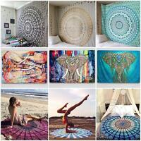 Indian Mandala Tapestry Wall Hanging Hippie Elephant Bedspread Throw Bohemian