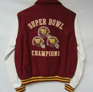 Redskins Womens Large 3 Time Super Bowl Champs Wool Faux Leather Jacket B1 52