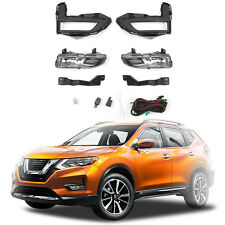 For 2017 2018 Nissan Rogue X-Trail Fog Light Full Kit w/ Wring & Switch - Clear