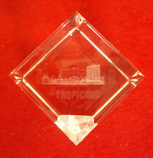 TROPICANA HOTEL CASINO 3D Laser Etched CRYSTAL Cube Las Vegas Glass Paperweight