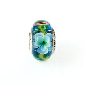 2 pcs Lampwork Murano Glass Bead Charms Spacer Fit Eupropean Chain Bracelet