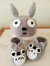 Handmade crochet baby booties with matching hat Totoro