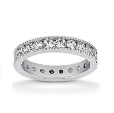14k White Gold 0.84ct Brilliant Round EX Cut Eternity Wedding Band Ring Jewelry
