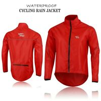 Mens Cycling Waterproof Rain Jackets High Visibility Running Top Coat - Red