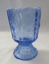 FENTON  GLASS PROVINCIAL BLUE OPALESCENT PANELED DAISY TOOTHPICK HOLDER # 2