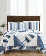 Martha Stewart Geometric Sails Reversible Full / Queen Cotton Quilt Blue $200