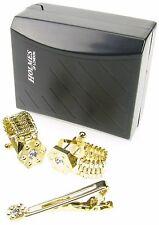 Camisa De Oro Cadena Gemelos Corbata Pin Clip Hombre Boda Con Caja De Regalo Nuevo CHN53 Reino Unido