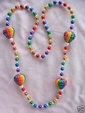 "COLORFUL ""HOT AIR BALLOONS"" MARDI GRAS NECKLACE BEAD AEROSTAT GAS BAG (B179)"
