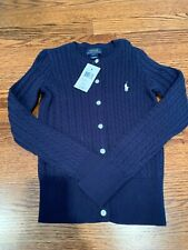 New With Tags Girls Ralph Lauren Navy Size Small 7 Cable Knit Cardigan
