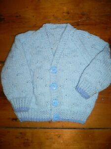 Blue Boys Hand Knitted Baby Cardigan 0-3 months 16 inch Chest