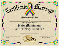 LGBT Certificate of Marriage Wedding New Age Love Gay Pride Spirit Soul Goth