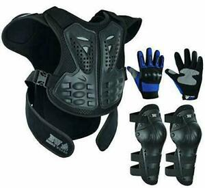 Motorbike Protective Body Armour Kids Protection Knuckle Glove & Knee Pads Suit