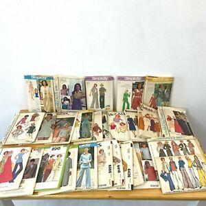 Vintage Sewing Pattern Lot 28 1970s Tops Blouses Pants Bust 36 Complete PT2