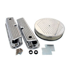 Ford 289 302 351W Finned Retro Aluminum Valve Covers & Ball Milled Air Cleaner