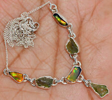 'Solid 925'' Sterling Silver Ethiopian Opal Rough & Moldavite Necklace SN18217