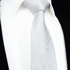 SALE Wedding White - Silver Grey Jacquard - Mens Tie - Floral Paisley Silk Gift