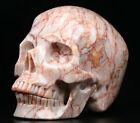"Huge 5.0"" Red Network Jasper Carved Crystal Skull, Realistic, Crystal Healing"