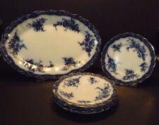 Antique Stanley Pottery Touraine Flow Blue Oval Platter & 6 Plates Henry Alcock