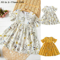 Toddler Baby Kids Skirt Girls Cute Ruched Floral Princess Dress Casual Clothes